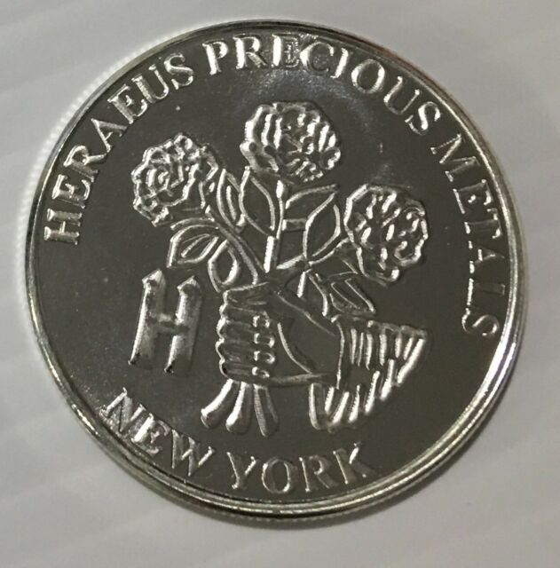 1 Oz Heraeus Silver Round .999 Fine Bullion Round Rare Art Ounce Bar Coin 999 Ag