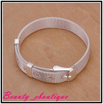 New 925 Silver Plated Belt Shape Charm Bangle Cuff Bracelet Wristband Jewelry