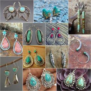 Vintage-Women-925-Silver-Turquoise-Gemstone-Ear-Stud-Dangle-Engagement-Earrings