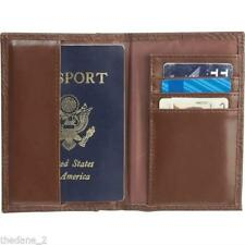 Brown Tooled Design Leather Passport Cover Organizer Travel Wallet I.D. Holder