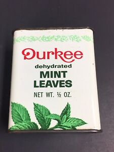 RARE-VINTAGE-DURKEE-MINT-LEAVES-SPICE-TIN-Kitchen-Cooking-GREEN-LEAVES-GRAPHICS