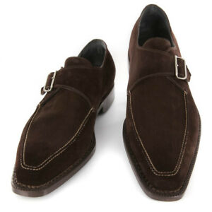 Neuf Sutor Mantellassi Daim Marron Chaussures - Moine Bretelles - 12/11 - (