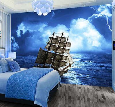 Pirate Ship Lightning Sea Full Wall