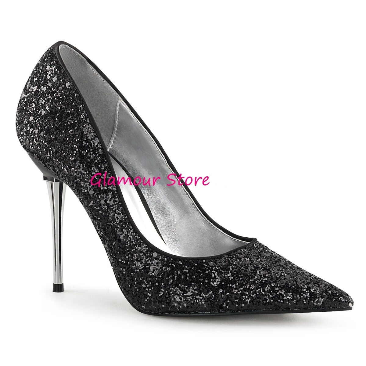 Sexy DECOLTE' GLITTER a PUNTA tacco 10 metal dal 35 35 35 al 46 negro zapatos GLAMOUR  calidad auténtica