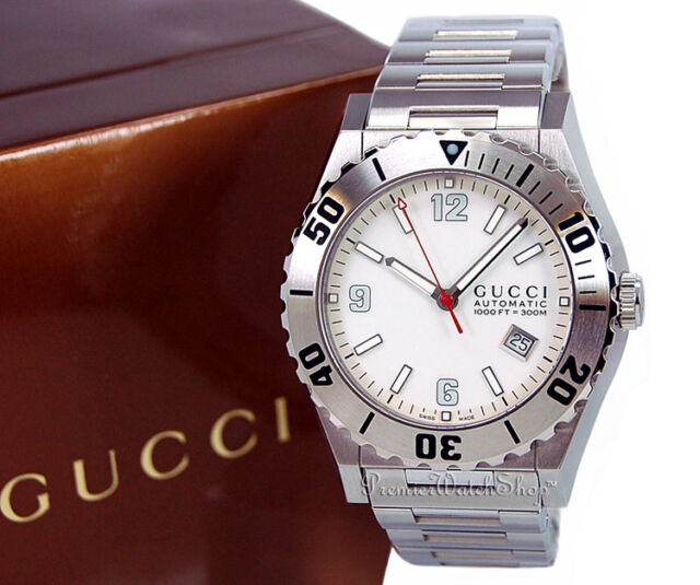 fbd9428944d Brand New GUCCI 115 Pantheon Diver Automatic Movement Men s Watch YA115212
