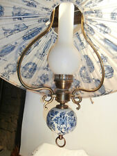 Landhaus Hängeleuchte,Ornamente blau weiß Messing, Porzellan/Keramik MAJOLIKA