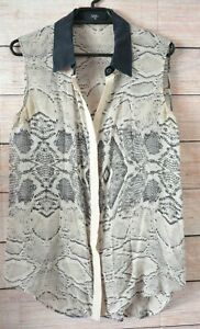 Saba-Silk-Button-Front-SHirt-Blouse-Black-Navy-beige-Snake-Print-Size-8