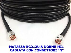 CAVO-COASSIALE-RG213U-A-NORME-MIL-CABLATO-CONNETTORI-N-OTTIMO-SU-VHF-UHF