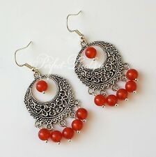 925 Sterling Silver Hook Red Carnelian Agate Chandelier Round Tibetan Earrings
