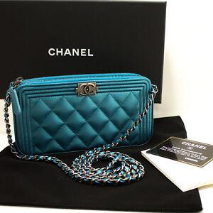 b4d085407f00 Image is loading L01-CHANEL-Authentic-Boy-Metallic-Blue-Caviar-Wallet-
