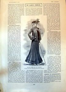 Old-Antique-Print-Walking-Dress-Country-Sulgrave-Manor-House-Banbury-1902-20th