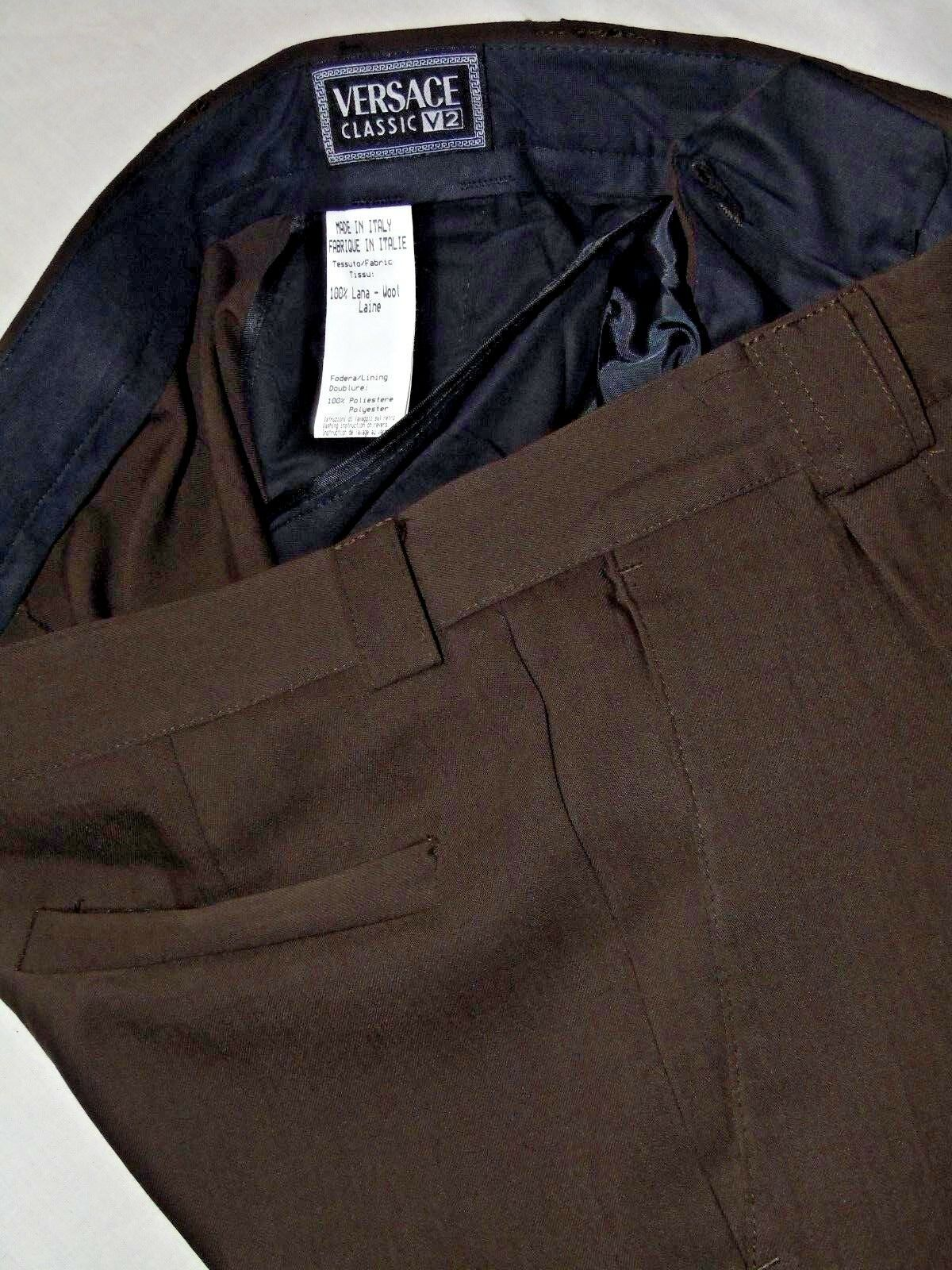 VERSACE CLASSIC V2 SMART CLASSIC DESIGNER BROWN WORK DRESS TROUSERS W34 31
