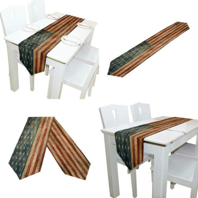 ALAZA Table Runner Home Decor Vintage American Flag Table Cloth Runner Coffe...