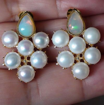 NATURAL  FLASHING TOP ETHIOPIA OPAL, PEARL EARRINGS 925 SILVER YELLOW GOLD.