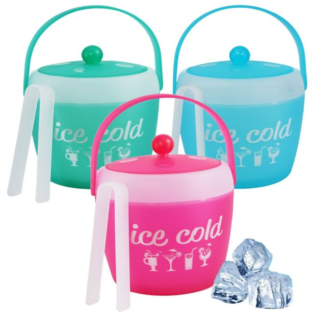 Plastic Party Ice Serving Holder Bucket Cooler with Lid /& Serving Tongs Pink