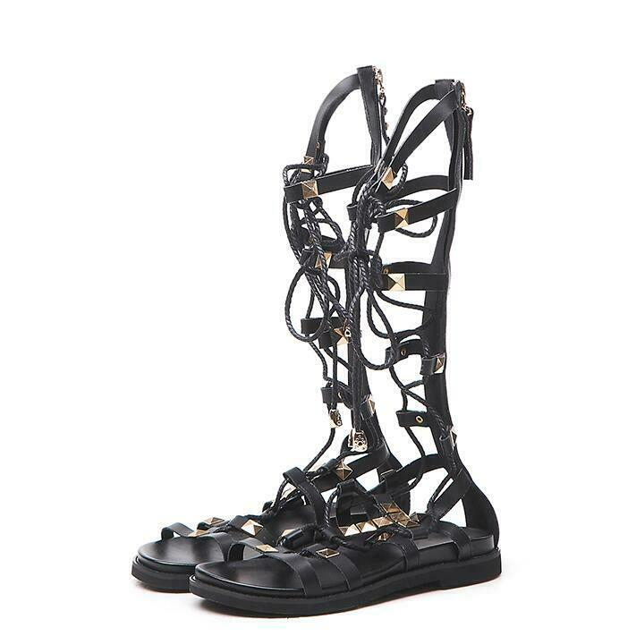 Donna 2019 New Summer Fashion Punk Gothic Rivet Strappy Strappy Strappy High stivali Sandals occg 1c05fe