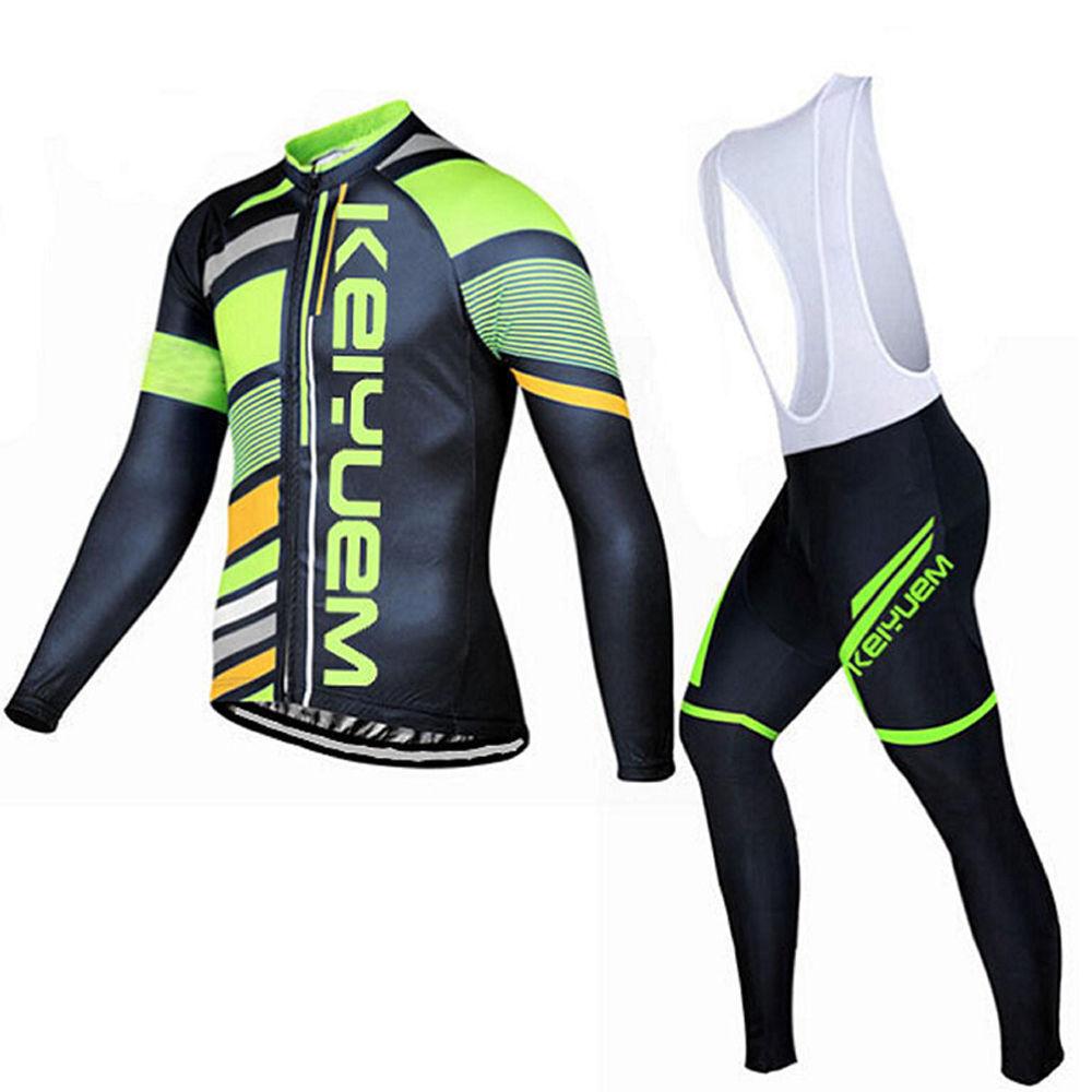 Men's Cycling Long Kit Long Sleeve Jersey Top & Padded Long Bib Pants Tights Set