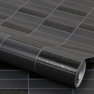 Das Bild Wird Geladen Vliestapete Fliesen Muster Schwarz Mit Glitzer Rimini Kachel