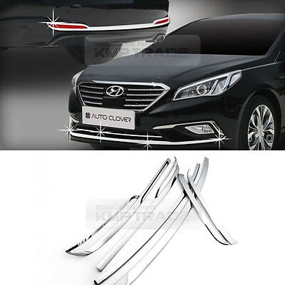 For HYUNDAI 16-17 Sonata i45 Chrome Front Rear Bumper Fog Lamp Molding Trim