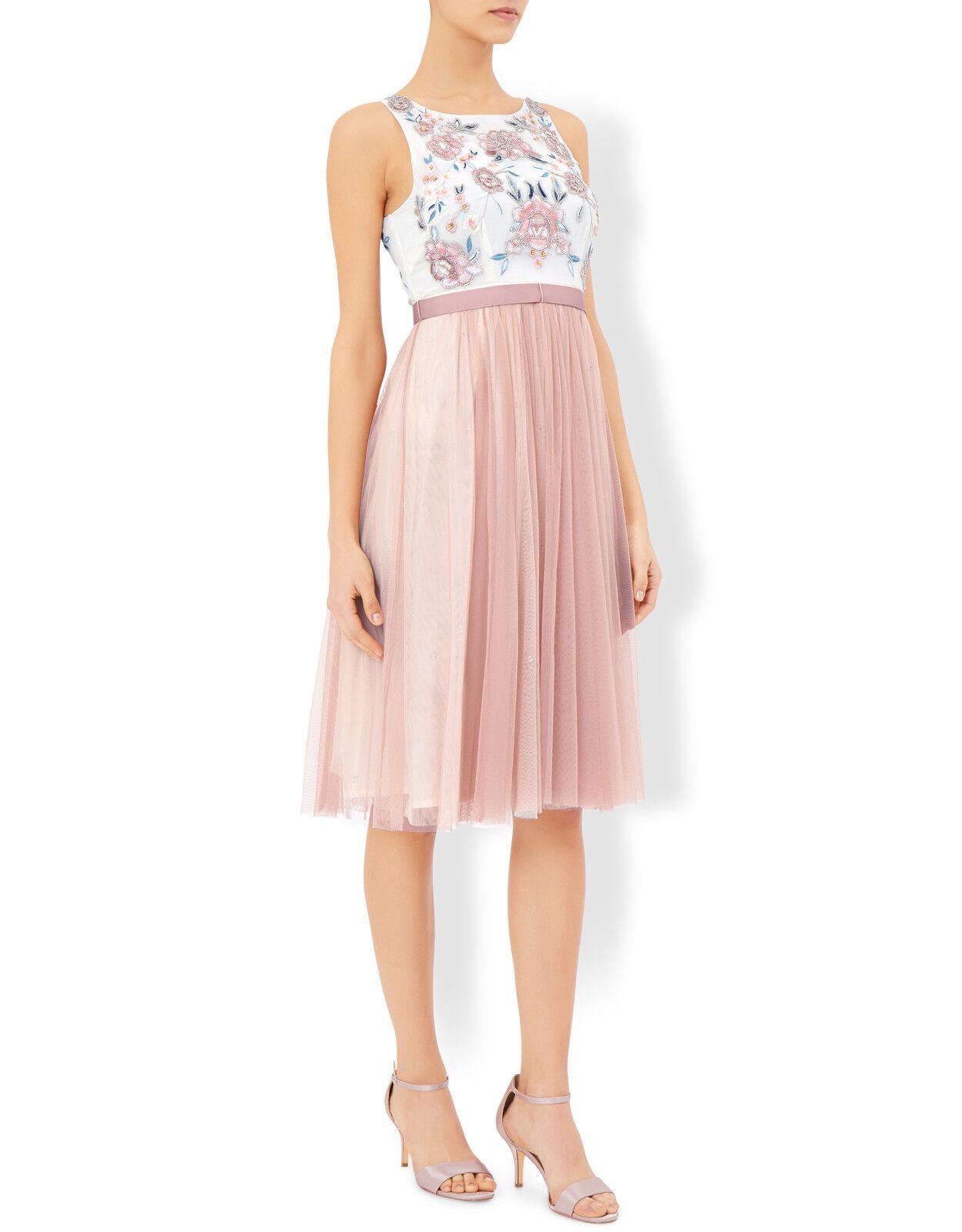 Monsoon Lotus Embroidered Dress Nude Size rrp  SA171 AG 11