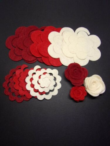 Felt 3d abrió Rosas dado corta Paquete de 9 CORONAS /& Crafts ideal para Escribano
