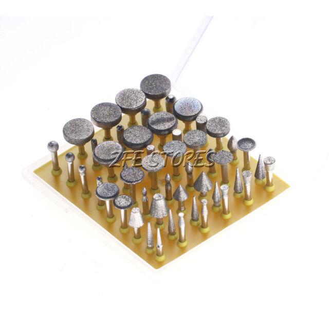 50pcs Diamond coated grinder head lapidary burr drill