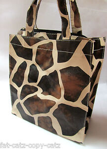 GIRAFFE ANIMAL PRINT SOFT PVC FAUX LEATHER LUNCH SHOPPING BAG WATERPROOF UK SELL