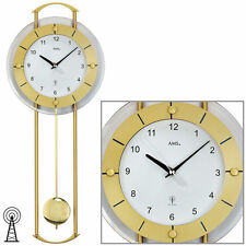 AMS Radio Péndulo Reloj de pared reloj Cristal mineral Latón Nuevo