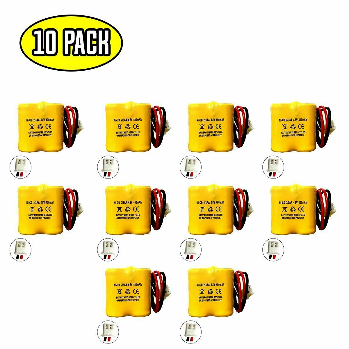 (10 pack) 4.8v 400mAh Ni-CD Battery Pack Replacement for Emergency / Exit Light