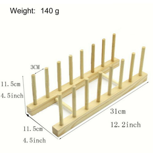 Kitchen Wooden Plate Rack Wood Dish Drainer  Vertical Dish Drying Stand Shelf US