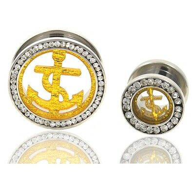 PAIR - GOLD ANCHOR/CLEAR GEM RIM TUNNELS EAR PLUGS STAINLESS GAUGES 8mm-24mm