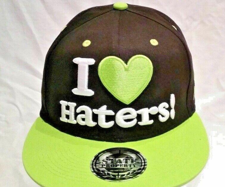 I Love Hasser Baseball Kappe Kinder & Erwachsene Urban Hip Hop Schwarz/Limette