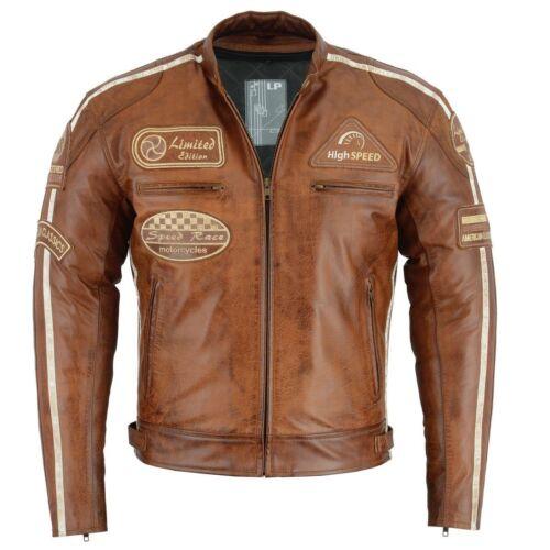 Retro Motorrad Racer jacke Vintage jacke 100/% Echtleder Herren Motorradjacke