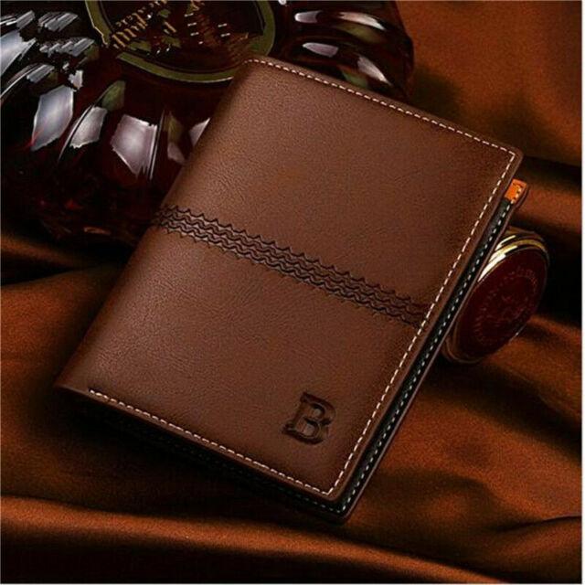 New Mens Leather Wallet Pocket ID Multi Card Flip Billfold Clutch Bifold Purse