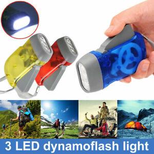 WIND UP TORCH 2 LED CRANK POWER DUNAMO FLASHLIGHT NIGHT LAMP HAND PRESSING