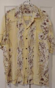KALAHEO-Mens-Hawaiian-Shirt-Size-LARGE-L-Short-Sleeve-Floral-Yellow