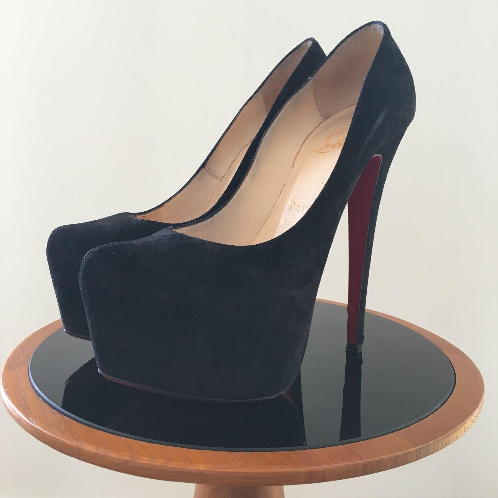 Descuento de liquidación Christian Louboutin Daffodile 160, Black SUEDE Heels, 36
