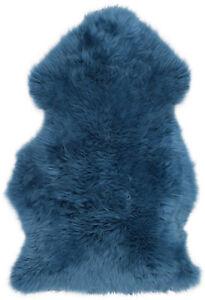 tres-doux-grand-vrai-peau-de-mouton-veritable-Tapis-en-bleu-moyen-Taille