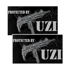 Protected By Uzi Decals Pack Of Two