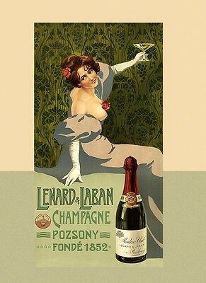 Lenard Laban Glass of Champagne Pozsony 1852 Vintage Poster Repro FREE S/H