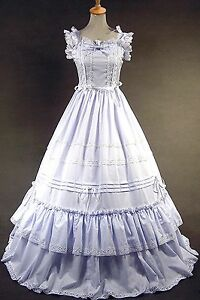 Ladies-White-Sleeveless-Cotton-Lolita-Gothic-Punk-Dress-Cosplay-Custom-Made