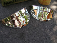 NEW PAIR OF CHROME VINTAGE STYLE HEAD LIGHT VISORS !