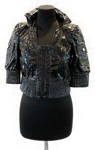 Women's Gucci Jacket Biker Disco Patent Leather 3/4 Sleeves Black Sz 38