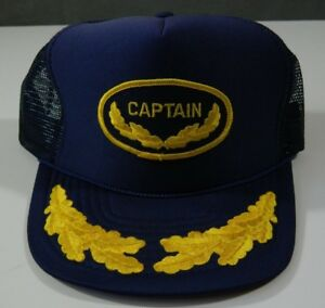 551a77fd3 Details about Vintage Captain Mesh Trucker Hat Snapback Blue / Yellow NISSIN