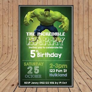 Image Is Loading Personalised Incredible Hulk Kids Party Birthday Invites Invitations