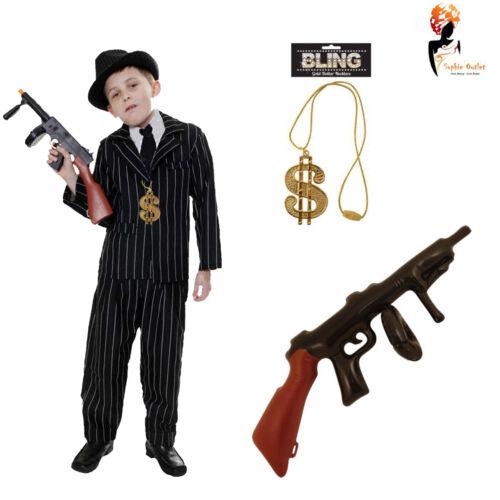 Ragazzi bambino da Gangster Nero Costume Anni 1920 Costume Bambini World Libro Settimana Vestito