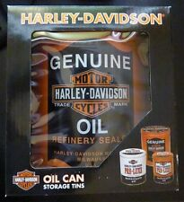 Harley-Davidson® Oil Can Storage Tin Set. Set of Three Tins. HDL-19201
