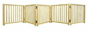 Four-Paws-5-Panel-Smart-Folding-Solid-Wood-Step-Over-Dog-Puppy-Pet-Gate-110-034-W
