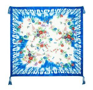 JOHNNY-WAS-Silk-034-Wilkins-034-Scarf-w-Cobalt-Tie-Dye-amp-Flowers-Butterflies-43-034-x-43-034