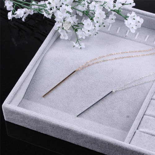 New Fashion Simple Sliver//Gold Chain Necklace Lariat Charm Bar Necklace Pendant
